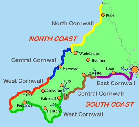 Map Of South Cornwall Cornwall's Beaches   A comprehensive guide to all the beaches in  Map Of South Cornwall
