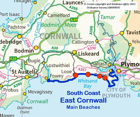 Map Of South Cornwall South Coast East Cornwall | Cornwall's Beaches   A comprehensive  Map Of South Cornwall